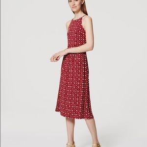 🎉5 for $25🎉 LOFT Red Lattice Midi Dress